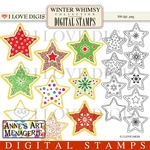 Winter Whimsy Star Cookies Digital Stamps