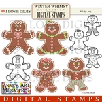 Winter Whimsy Gingerbread Men Digital Stamps