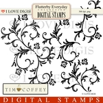 Flutterby Flourish Digital Stamps #1