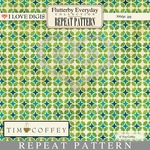 Flutterby Everyday Digital Repeat Pattern #21 Geometric Green