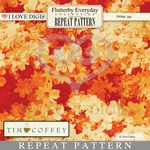 Flutterby Everyday Digital Repeat Pattern #23 Blossoms Gold