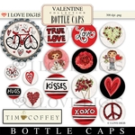 Valentine Digital Bottle Caps, Magnet & Ornament Art