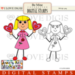 Be Mine Digital Stamp - Girl