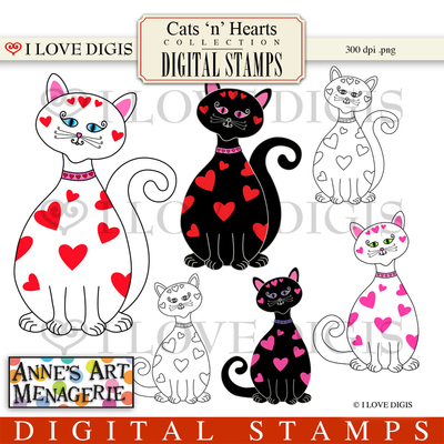 Cats 'n' Hearts Digital Stamps