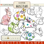Easter Bunnies Digital Stamps