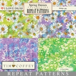 Spring Daisies Repeat Patterns #5-8