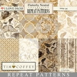 Flutterby Neutral Digital Repeat Patterns #1-8