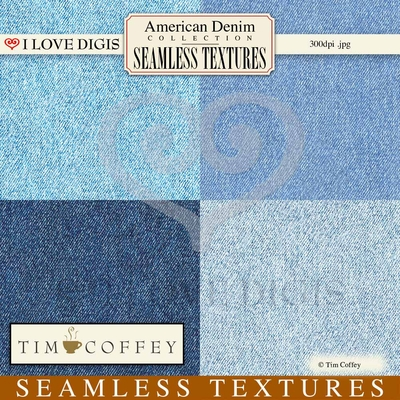 American Denim Seamless Textures #1-4 Denim