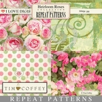 Heirloom Roses Repeat Patterns #9-12