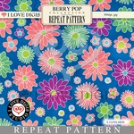 Berry Pop Repeat Pattern #20 Flowers - Teal
