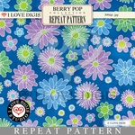 Berry Pop Repeat Pattern #22 Flowers - Pastel Blue