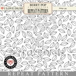 Berry Pop Repeat Pattern #25 Leaves B&W
