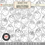 Berry Pop Repeat Pattern #26 Strawberries B&W