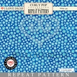 Curly Pop Repeat Pattern #11 Dots - Blue