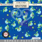 Curly Pop Repeat Pattern #12 Fireflies