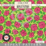 Curly Pop Repeat Pattern #13 Roses - Pink
