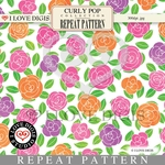 Curly Pop Repeat Pattern #15 Roses - Peach