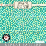 Curly Pop Repeat Pattern #16 Dots - Aqua