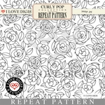 Curly Pop Repeat Pattern #17 Roses B&W