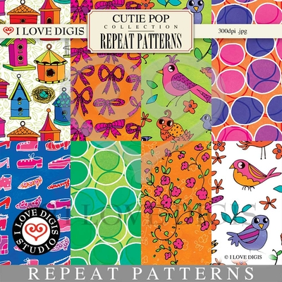 Cutie Pop Repeat Patterns #1 - 8