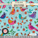 Cutie Pop Repeat Pattern #13 Birds
